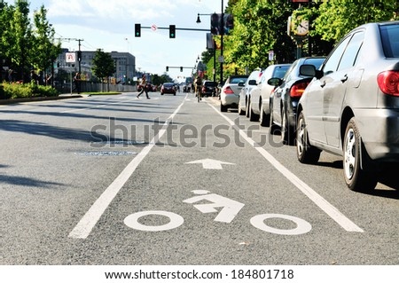 Bike lane in city street - stock photo