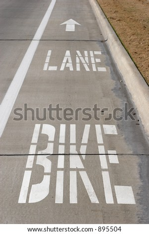 Bike lane on a road - stock photo
