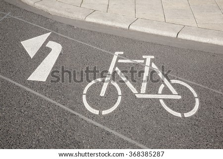 Bike Lane Symbol and Arrow, Cologne; Germany