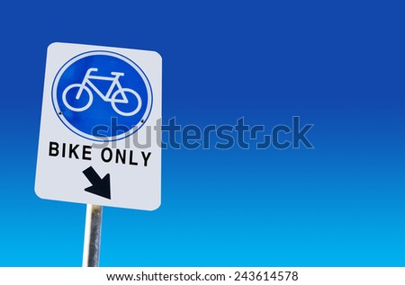 Bike lane symbol on blue background - stock photo