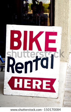 Bike Rental Sign on boardwalk for advertising