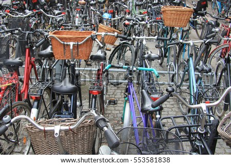 Bike stop / Group of bicycles of various types and sizes