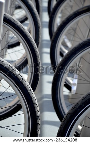 Bike Tires in Black and White Background - stock photo