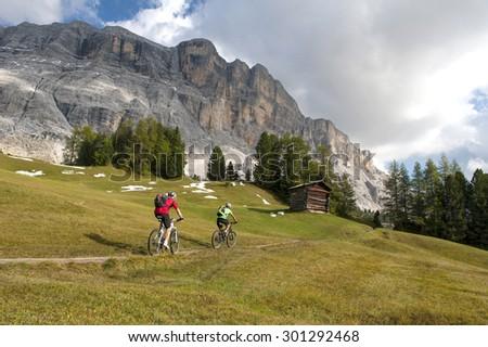 bike tour in the mountains - stock photo