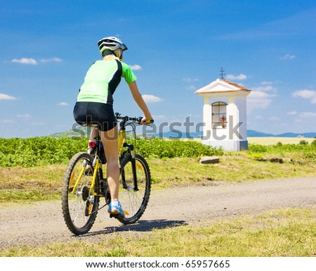 biker, Ceske stredohori, Czech Republic - stock photo
