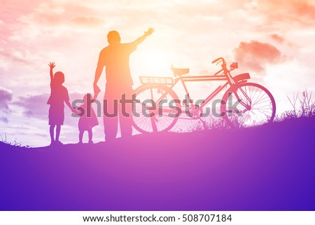Biker family silhouette father and son