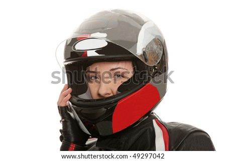 Biker girl over white background