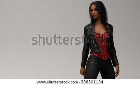 biker girl wearing black leather outfit - stock photo