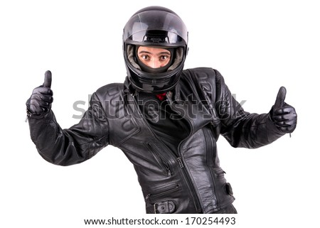 Biker in leather jacket with helmet isolated in white