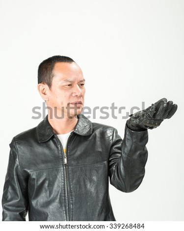 Biker man on white background
