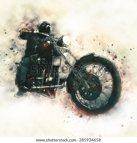 Biker on a motorcycle on white Background - stock photo