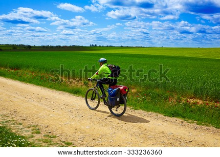 Biker on The Way of Saint James in Castilla Leon cereal fields of Spain