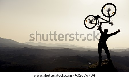 biker silhouette and success