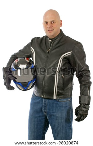 Biker with the helmet looking sharp