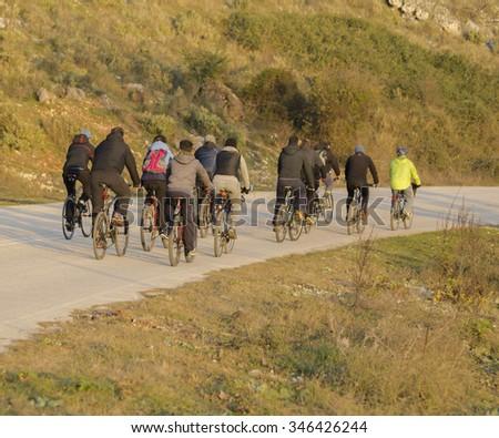 bikers bikes, nature , road - stock photo