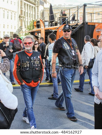Bikers in Harley Davidson festival in St. Petersburg. St. Petersburg, Russia - 12 August, 2016. The annual International Festival of Motor Harley Davidson in St. Petersburg Ostrovsky Square.