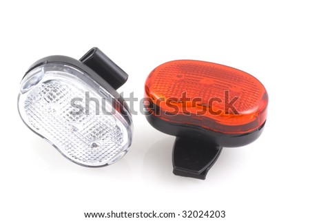 Bikers safety lights on a white background
