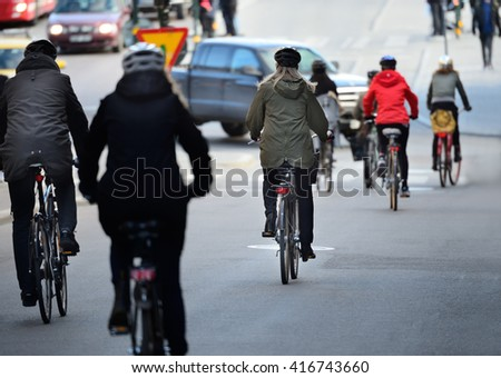 Bikes and bicyclist in traffic