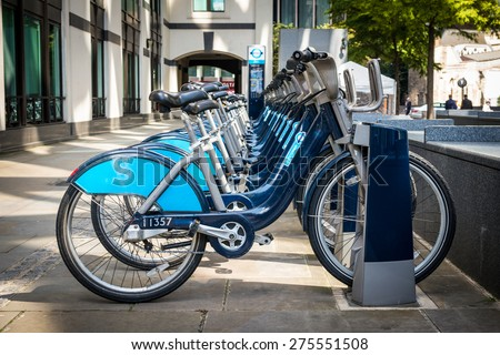 Bikes for rent in London. - stock photo