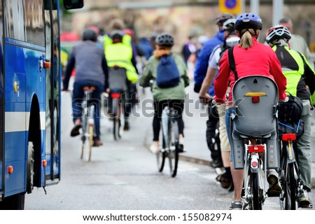 Bikes in crowd - stock photo
