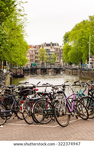 Bikes on the street in Amsterdam, Netherlands
