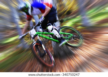 Biking as extreme and fun sport. Downhill biking.