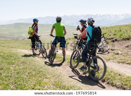Biking for a wonderful wonderful stone for - unearthly landscapes - stock photo