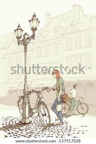 Biking in the old town - people who chose cycling for their everyday mobility. Raster version of a vector image. - stock photo
