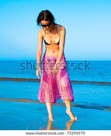 Bikini Action Beauty - stock photo