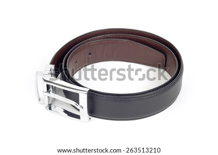 bilateral black and brown leather belt on white background - stock photo