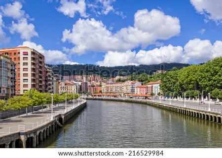 Bilbao Cityscape - Photo taken from the Zubizuri Bridge