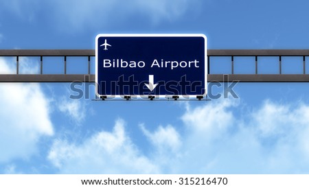 Bilbao Spain Airport Highway Road Sign 3D Illustration
