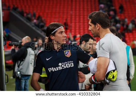 BILBAO, SPAIN - APRIL 20: greeting between Gorka Iraizoz and Filipe Luis after the match between Athletic Bilbao and Athletico de Madrid, celebrated on April 20, 2016 in Bilbao, Spain