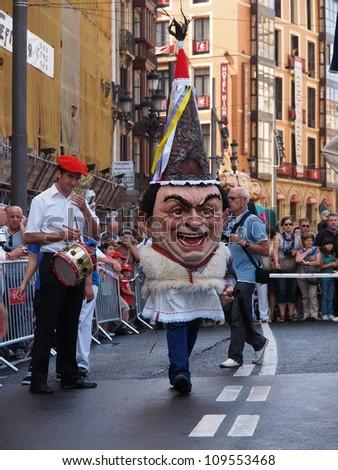 BILBAO, SPAIN - AUGUST 28: Giants and big heads (Gigantes y Cabezudos) in the Semana Grande de Bilbao festival on August 28th, 2011 in Bilbao, Vizcaya, Spain - stock photo