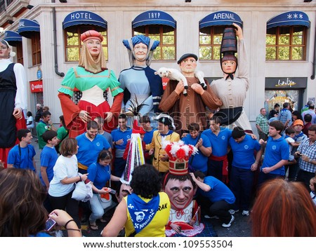 BILBAO, SPAIN - AUGUST 28: Giants and big heads (Gigantes y Cabezudos) in the Semana Grande de Bilbao festival on August 28th, 2011 in Bilbao, Vizcaya, Spain - stock photo