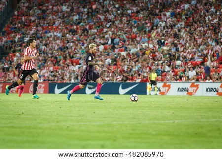 BILBAO, SPAIN - AUGUST 28: Leo Messi, FC Barcelona player, in action during a Spanish League match between Athletic Bilbao and FC Barcelona, celebrated on August 28, 2016 in Bilbao, Spain