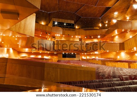 BILBAO, SPAIN - FEBRUARY 23, 2014: Interior view of the 'Palacio Euskalduna', a modern conference center and concert hall, with nobody inside in Bilbao, Spain, on Feb 23, 2014