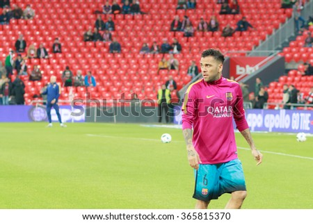 BILBAO, SPAIN - JANUARY 20: Dani Alves heated moments before the at the quarter-finals of the Cup match between Athletic Club Bilbao, celebrated on January 20, 2016, in Bilbao, Spain - stock photo