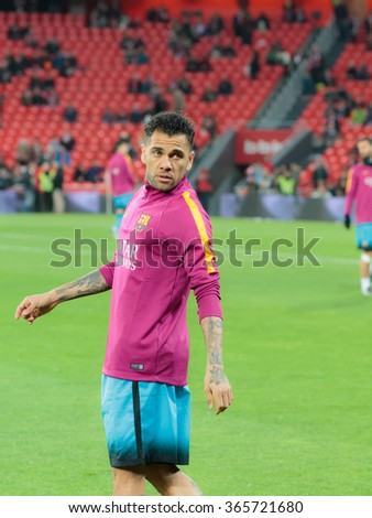 BILBAO, SPAIN - JANUARY 20: Dani Alves looks to the public before   the quarter-finals of the Cup match between Athletic Club Bilbao, celebrated on January 20, 2016, - stock photo