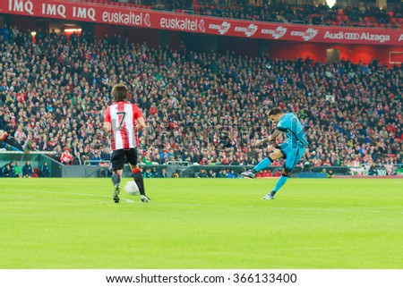 BILBAO, SPAIN - JANUARY 20: Dani Alves shoots on goal in the quarter-finals of the Cup match between Athletic Club Bilbao, celebrated on January 20, 2016, in Bilbao, Spain - stock photo