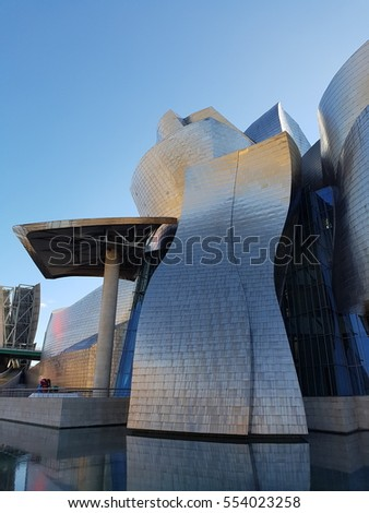 Bilbao, Spain - January 2017: One side of the Guggenheim Museum Bilbao  building at