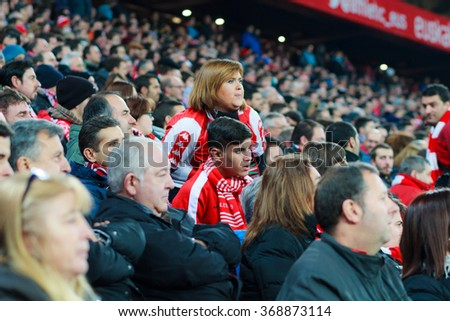 BILBAO, SPAIN - JANUARY 20: Unidentified Athletic Club Bilbao fans during the quarter-finals of the Cup match between Athletic Club Bilbao, celebrated on January 20, 2016, in Bilbao, Spain
