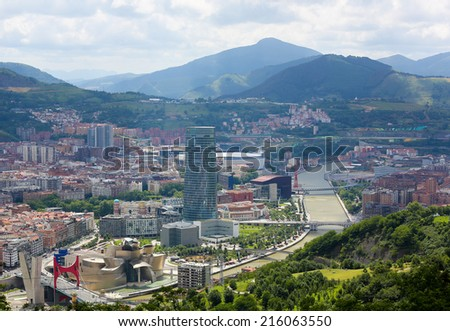 BILBAO, SPAIN - JULY 10, 2014: Aerial view on the center of Bilbao, Basque country, Spain. - stock photo