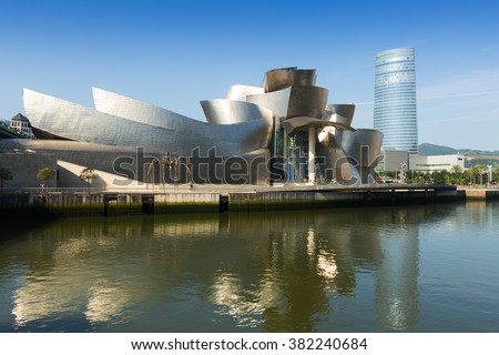 BILBAO, SPAIN - JULY 4, 2015:  Guggenheim Museum Bilbao is  museum of modern and contemporary art, designed by Canadian-American architect Frank Gehry. Bilbao, Basque Country - stock photo