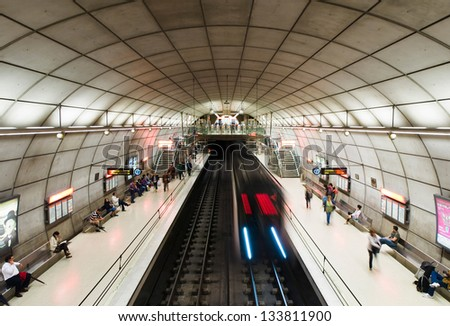 BILBAO, SPAIN - JULY 19 Moyua subway station on July 19, 2011 in Bilbao, Spain. Bilbao metro is a modern design that is under construction, from 1988 to present, and is designed by Norman Foster - stock photo