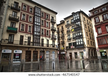 Bilbao, Spain, July 6, 2016: old quarters street on a rainy day. July 6, 2016 in Bilbao, Spain