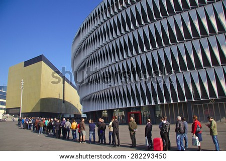BILBAO, SPAIN - MAY 28 2015: People queueing for a ticket at San Mames football stadium - stock photo