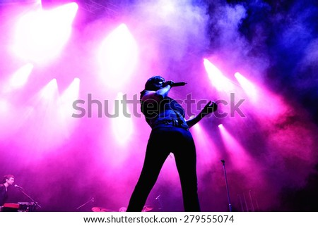 BILBAO, SPAIN - NOV 01: Babasonicos (band) live music show at Bime Festival on November 01, 2014 in Bilbao, Spain. - stock photo