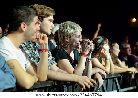 BILBAO, SPAIN - OCT 31: Audience in a concert at Bime Festival on October 31, 2014 in Bilbao, Spain. - stock photo