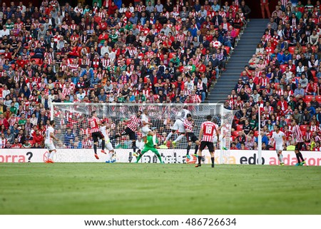 BILBAO, SPAIN - SEPTEMBER 18: Aritz Aduriz, Bilbao player, in action during a Spanish League match between Athletic Bilbao and Valencia CF, celebrated on September 18, 2016 in Bilbao, Spain